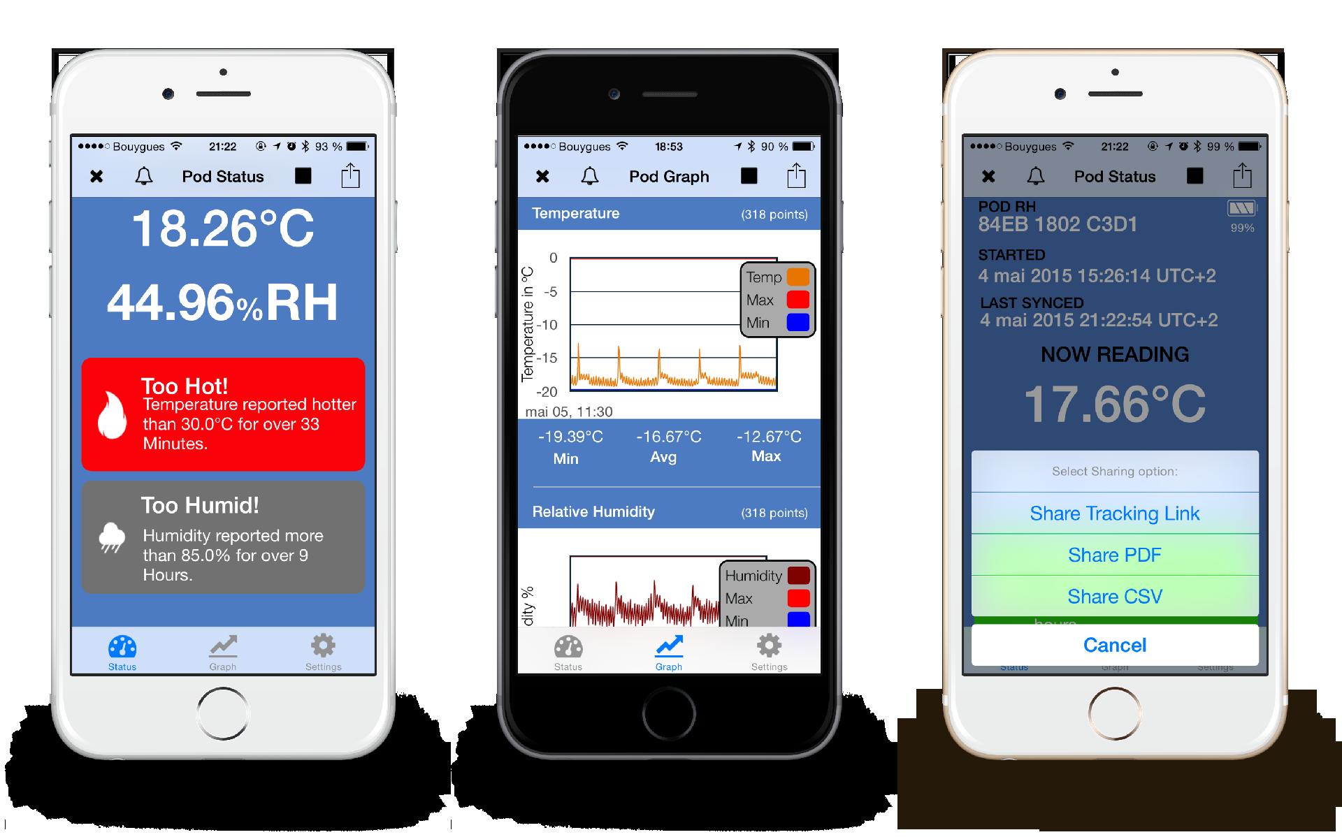 Application mobile pour enregistreurs de température Verigo